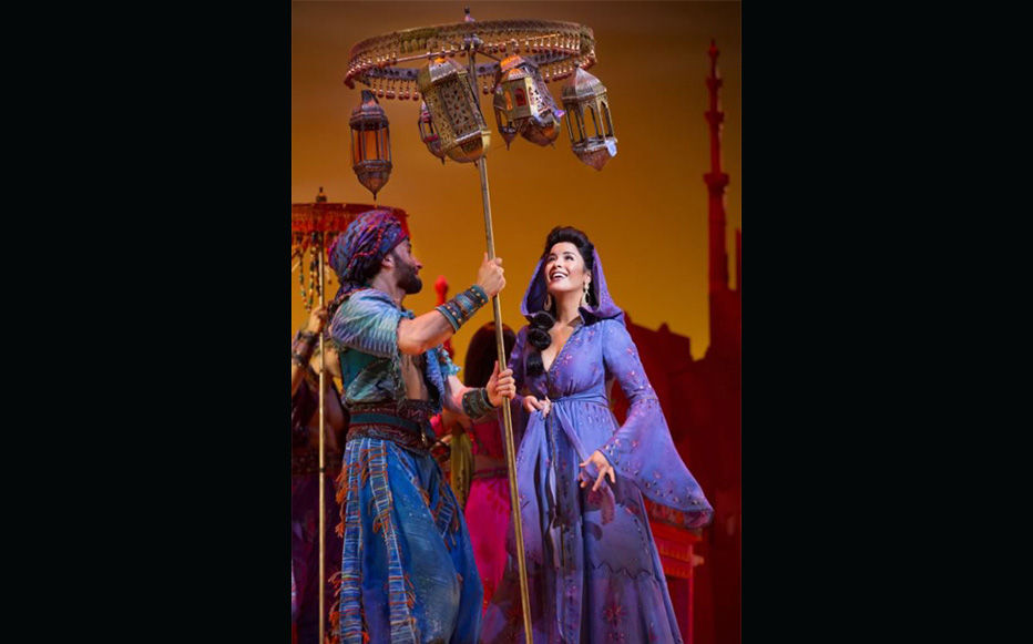 Courtney Reed as Jasmine with Brandt Martinez (ensemble) in ALADDIN. Photo by Cylla von Tiedemann